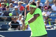 Aug 30, 2016; New York, NY, USA; Juan Martin del Potro of Argentina returns a shot to Diego Schwartzman of Argentina (not pictured) on day two of the 2016 U.S. Open tennis tournament at USTA Billie Jean King National Tennis Center. Mandatory Credit: Anthony Gruppuso-USA TODAY Sports
