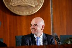 FIFA President Gianni Infantino smiles during his visit in Abuja, Nigeria, July 25, 2016. REUTERS/Afolabi Sotunde