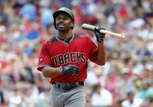 Aug 14, 2016; Boston, MA, USA; Arizona Diamondbacks center fielder Michael Bourn (1) heads back to the dugout after striking out against the Boston Red Sox during the first inning at Fenway Park. Mandatory Credit: Winslow Townson-USA TODAY Sports