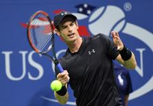 5, 2016; New York, NY, USA;  Andy Murray of Great Britain hits to Grigor Dimitrov of Bulgaria on day eight of the 2016 U.S. Open tennis tournament at USTA Billie Jean King National Tennis Center. Mandatory Credit: Robert Deutsch-USA TODAY Sports