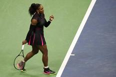 Sep 7, 2016; New York, NY, USA; Serena Williams of the United States gestures after winning a point against Simona Halep of Romania (not pictured) on day ten of the 2016 U.S. Open tennis tournament at USTA Billie Jean King National Tennis Center. Williams won 6-2, 4-6, 6-3. Mandatory Credit: Geoff Burke-USA TODAY Sports