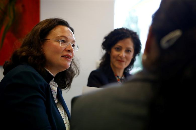German Labour Minister Andrea Nahles (L), Cansel Kiziltepe (C), member of the German parliament, and Ayse Demi (R), spokesperson of the Turkish Federation Berlin (Tuerkischer Bund Berlin), meet at the Turkish Federation Berlin office, Berlin, Germany, August 18, 2016.     REUTERS/Axel Schmidt