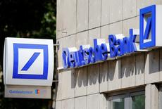 A logo of a branch of Germany's Deutsche Bank is seen in Cologne, Germany, July 18, 2016.  REUTERS/Wolfgang Rattay/File Photo