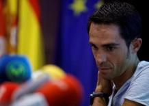 Alberto Contador of Spain attends a news conference after a medical examination following his multiple falls in the Tour de France in Madrid, Spain, July 12, 2016. REUTERS/Javier Barbancho