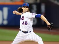 Sep 1, 2016; New York City, NY, USA; New York Mets starting pitcher Jacob deGrom (48) pitches in the first inning against the Miami Marlins at Citi Field. Mandatory Credit: Wendell Cruz-USA TODAY Sports