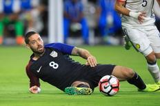 Jun 25, 2016; Glendale, AZ, USA; United States forward Clint Dempsey (8) reacts in the second half against Colombia during the third place match of the 2016 Copa America Centenario soccer tournament at University of Phoenix Stadium.  Allan Henry-USA TODAY Sports