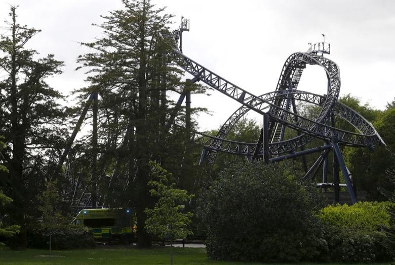 An ambulance drives past the Smiler ride at Alton Towers in Alton, Britain June 2, 2015.  REUTERS/Darren Staples/File Photo