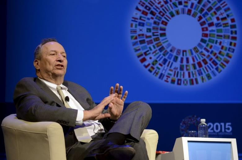 Former U.S. Treasury Secretary Lawrence Summers, currently President Emeritus and Harvard University professor, makes remarks during a seminar on ''The New Normal in Asia: Will Growth Inevitably Slow?'' at the IMF and World Bank's 2015 Annual Spring Meetings, in Washington, April 16, 2015. REUTERS/Mike Theiler