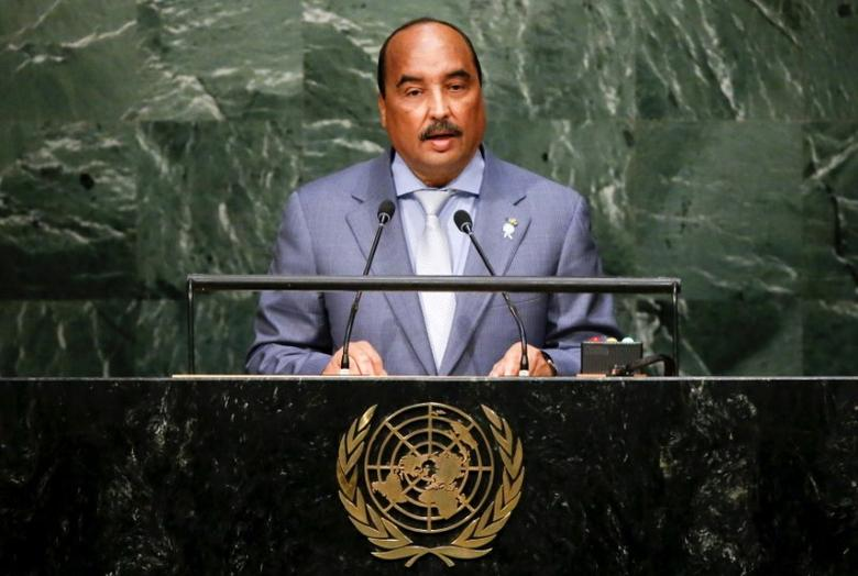 President Mohamed Ould Abdel Aziz of Mauritania addresses a plenary meeting of the United Nations Sustainable Development Summit 2015 at the United Nations headquarters in Manhattan, New York September 26, 2015.   REUTERS/Darren Ornitz