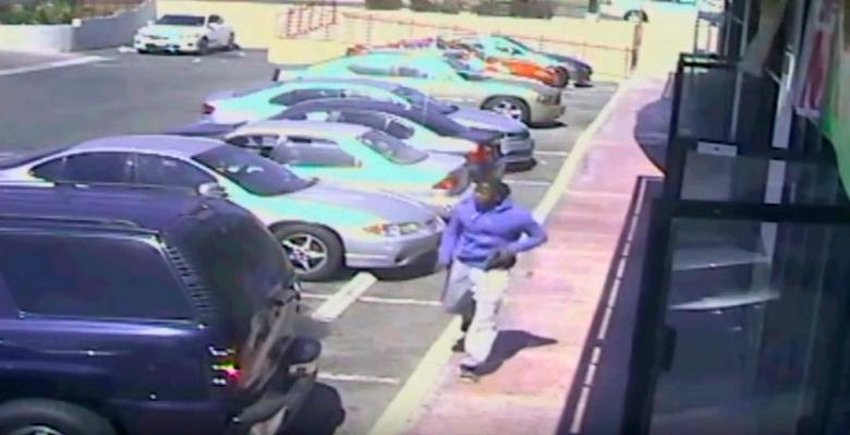 A still image taken from closed-circuit TV provided by the Los Angeles Police Department (LAPD) October 4, 2016 shows a suspect fleeing police pursuit on October 1, 2016.  Courtesy of LAPD/Handout via REUTERS