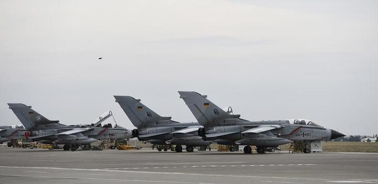 German Tornado jets are pictured on the ground at the air base in Incirlik, Turkey, January 21, 2016. REUTERS/Tobias Schwarz