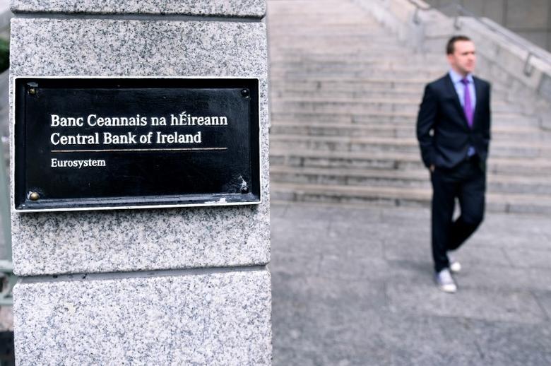 A man walks past the Central Bank of Ireland in Dublin, Ireland, July 25, 2016. Picture taken July 25, 2016.  REUTERS/Clodagh Kilcoyne - RTSJW8K