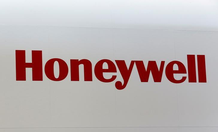A Honeywell logo is pictured on the company booth during the European Business Aviation Convention & Exhibition (EBACE) at Cointrin airport in Geneva, Switzerland, May 24, 2016.  REUTERS/Denis Balibouse/File Photo