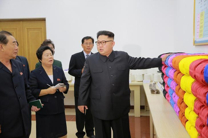 North Korean leader Kim Jong Un provides field guidance to the Mangyongdae Revolutionary Site Souvenir Factory in this undated photo released by North Korea's Korean Central News Agency (KCNA) in Pyongyang on October 7, 2016. KCNA/ via REUTERS