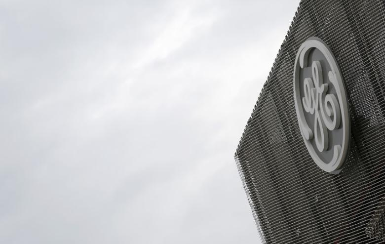 The logo of U.S. conglomerate General Electric is pictured at the company's site in Belfort, June 23, 2014.  REUTERS/Vincent Kessler