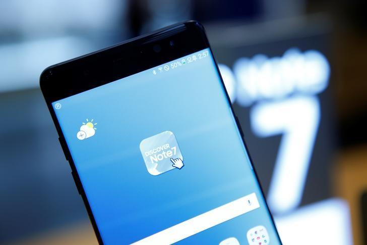2016年10月10日,韩国首尔,三星盖乐世Note 7手机。REUTERS/Kim Hong-Ji