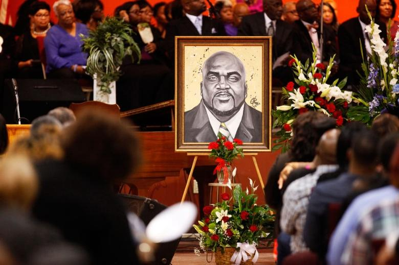 An artistic depiction of Terence Crutcher is displayed at his funeral in Tulsa, Oklahoma, U.S., September 24, 2016. REUTERS/Kurt Steiss
