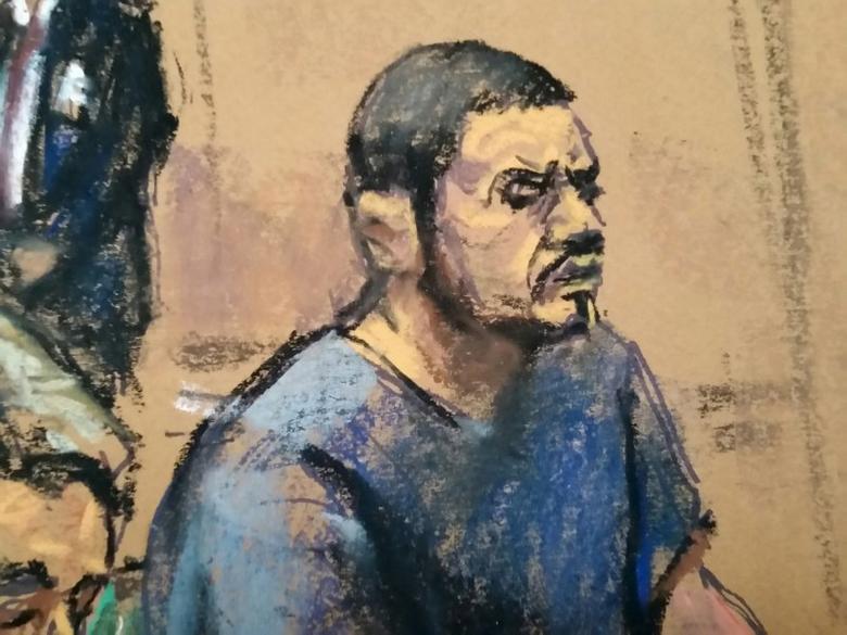 Franqui Francisco Flores de Freitas sits in federal court in Manhattan, New York, December 17, 2015, in this courtroom sketch. REUTERS/Jane Rosenberg