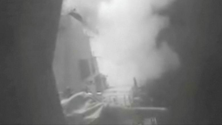 A still image from video released October 13, 2016 shows U.S. military launching cruise missile strikes from U.S. Navy destroyer USS Nitze to knock out three coastal radar sites in areas of Yemen controlled by Houthi forces.     REUTERS/DIVIDS via Reuters TV
