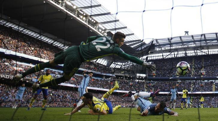 Britain Football Soccer - Manchester City v Everton - Premier League - Etihad Stadium - 15/10/16Manchester City's Nolito scores their first goal as Everton's Maarten Stekelenburg attempts to saveReuters / Phil NobleLivepic