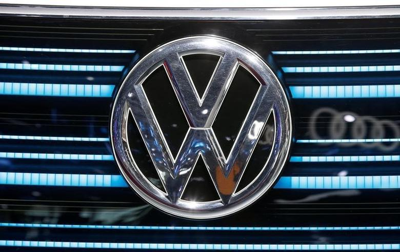View of a VW logo at the Mondial de l'Automobile, Paris auto show, during media day in Paris, France, September 30, 2016. REUTERS/Jacky Naegelen - RTSQ8KP