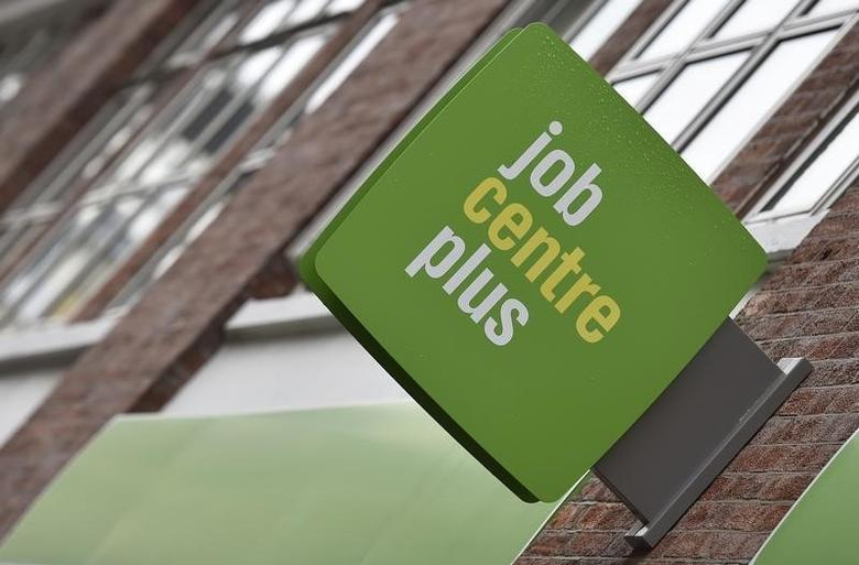 A Job Centre Plus sign is seen in central London, Britain July 15, 2015. Britain's unemployment rate rose for the first time in more than two years, data showed on Wednesday, but faster growth in earnings means the Bank of England is likely to keep signalling an interest rate hike is approaching. REUTERS/Toby Melville - RTX1KDOK
