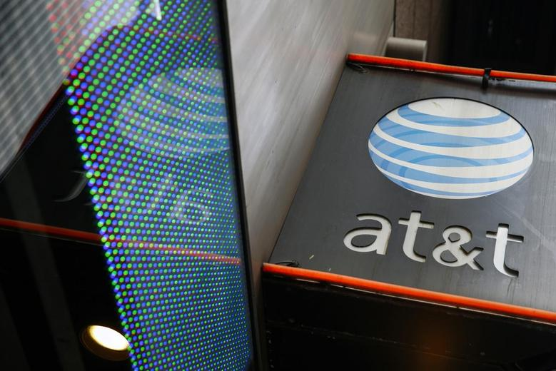 The signage for an AT&T store is seen in New York, New York October 29, 2014.  REUTERS/Shannon Stapleton/File Photo