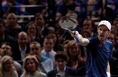 Tennis - Paris Masters tennis tournament men's singles final - Andy Murray of Britain v John Isner of the U.S. - Paris, France - 6/11/2016 - Murray reacts. REUTERS/Gonzalo Fuentes