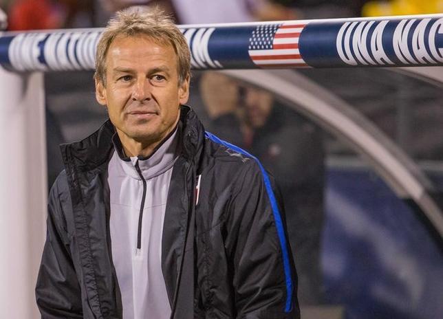 11月21日、米国サッカー協会は同国代表のユルゲン・クリンスマン監督の解任を発表した。米オハイオ州コロンバスで11日撮影(2016年 ロイター/Trevor Ruszkowski-USA TODAY Sports)