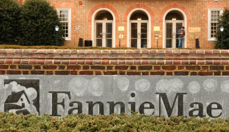 A stands outside Fannie Mae headquarters in Washington February 21, 2014. Fannie Mae said on Friday it would soon send the U.S. Treasury $7.2 billion, a profit-related dividend that makes taxpayers whole for the 2008 bailout of the mortgage-finance giant and its sibling company Freddie Mac. REUTERS/Kevin Lamarque  (UNITED STATES - Tags: BUSINESS REAL ESTATE)