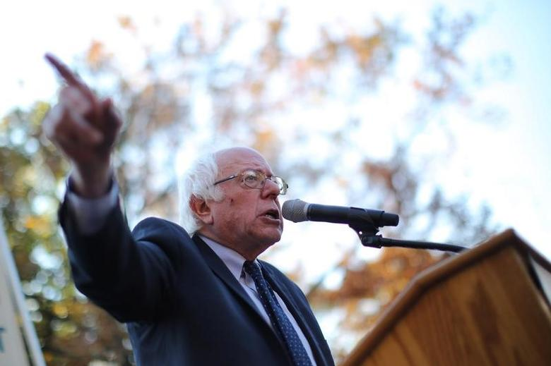 Former Democratic presidential candidate Senator Bernie Sanders (I-VT) speaks during a Capitol Hill rally to promote a people's agenda and a common commitment to stepping up grassroots mobilizations for economic and social justice and equality as the incoming Trump administration takes office in Washington, DC, U.S. November 17, 2016. REUTERS/Carlos Barria