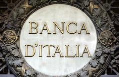 The Bank of Italy logo is seen at the company's headquarters in Milan, Italy, January 19, 2016. REUTERS/Stefano Rellandini/File Photo