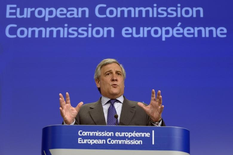 European Commission Vice-President Antonio Tajani gestures during a news conference on the European defence industry in Brussels July 24, 2013. REUTERS/Eric Vidal