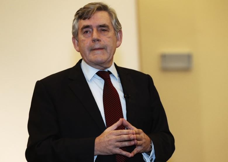 Former British Prime Minister Gordon Brown announces at the Kirkaldy Old Kirk that he will stand down as an MP at the next general election, in Kirkcaldy, Scotland, December 1, 2014. REUTERS/Russell Cheyne