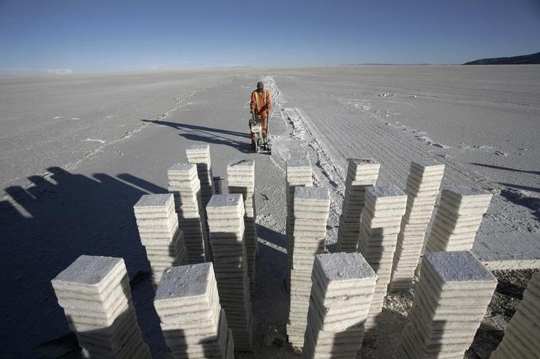 Blocks of salt are seen on Uyuni salt lake, which holds the world's largest reserve of lithium, about 500 km (311 miles), south of La Paz, November 28, 2010.  REUTERS/Gaston Brito