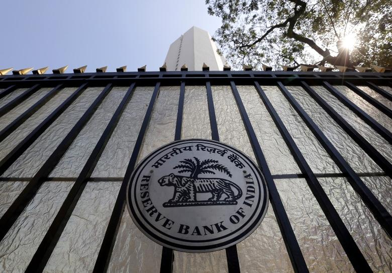 The Reserve Bank of India (RBI) seal is pictured on a gate outside the RBI headquarters in Mumbai, February 2, 2016. REUTERS/Danish Siddiqui/Files