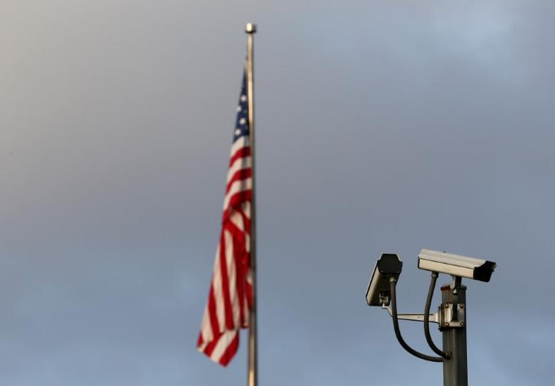 A surveillance camera is pictured in front of the U.S. Mission in Geneva, Switzerland, September 20, 2016. REUTERS/Denis Balibouse