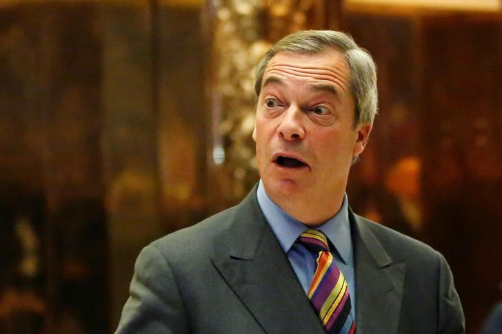 Nigel Farage stands in the lobby of Trump Tower in Manhattan, New York, U.S., December 15, 2016. REUTERS/Shannon Stapleton