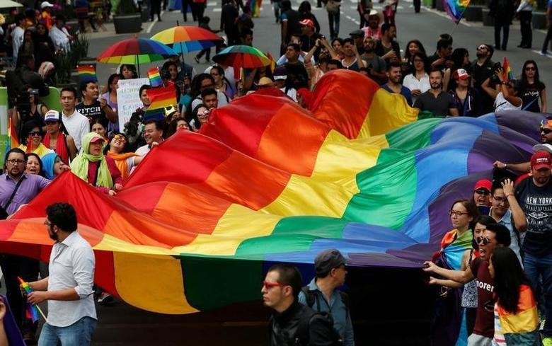 The LGBTI community wave a rainbow flag during a march in support of gay marriage, sexual and gender diversity in Mexico City, Mexico September 11, 2016.  REUTERS/Carlos Jasso