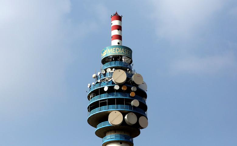 The Mediaset tower is seen in Cologno Monzese neighbourhood Milan, Italy, in this April 7, 2016 file photo.  REUTERS/Stefano Rellandini/File Photo
