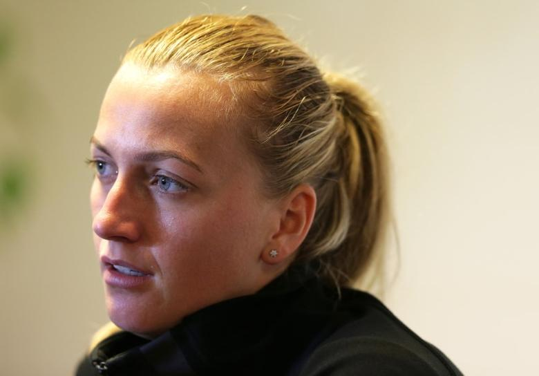Czech Republic's Petra Kvitova during a press conference. Aegon International - Devonshire Park, Eastbourne - 22/6/15. Action Images via Reuters / Henry Browne