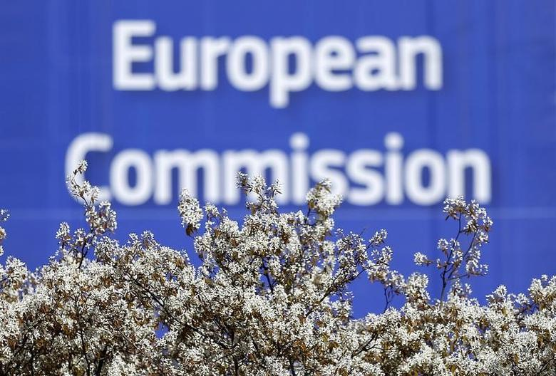 A sign is seen at the European Commission (EC) headquarters ahead of statements by the EC on the effectiveness of existing measures against tax evasion and money-laundering in light of the recent Panama Paper revelations, in Brussels, Belgium, April 12, 2016. REUTERS/Yves Herman