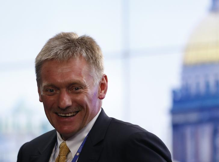 Kremlin spokesman Dmitry Peskov smiles as he arrives for a signing ceremony following a meeting of Russian President Vladimir Putin with Italian Prime Minister Matteo Renzi at the St. Petersburg International Economic Forum 2016 (SPIEF 2016) in St. Petersburg, Russia, June 17, 2016.   REUTERS/Grigory Dukor/Files