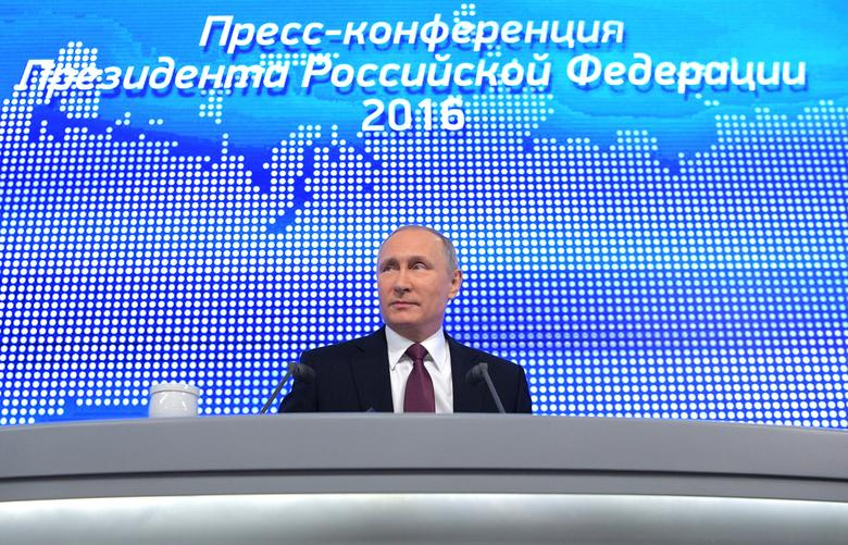 Russian President Vladimir Putin attends his annual end-of-year news conference in Moscow, Russia, December 23, 2016. Sputnik/Alexei Druzhinin/Kremlin via REUTERS ATTENTION EDITORS - THIS IMAGE WAS PROVIDED BY A THIRD PARTY. EDITORIAL USE ONLY.