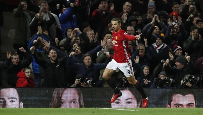 Britain Soccer Football - Manchester United v Sunderland - Premier League - Old Trafford - 26/12/16 Manchester United's Zlatan Ibrahimovic celebrates scoring their second goal  Action Images via Reuters / Lee Smith Livepic