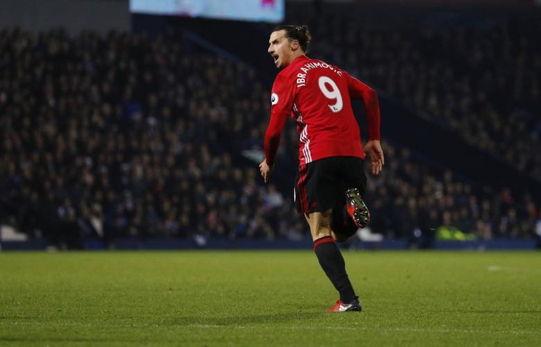 Britain Football Soccer - West Bromwich Albion v Manchester United - Premier League - The Hawthorns - 17/12/16 Manchester United's Zlatan Ibrahimovic celebrates scoring their second goal  Reuters / Phil Noble Livepic