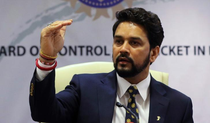 Anurag Thakur, newly-elected president of Board of Control for Cricket in India (BCCI), gestures during a news conference in Mumbai, India, May 22, 2016. REUTERS/Shailesh Andrade/Files