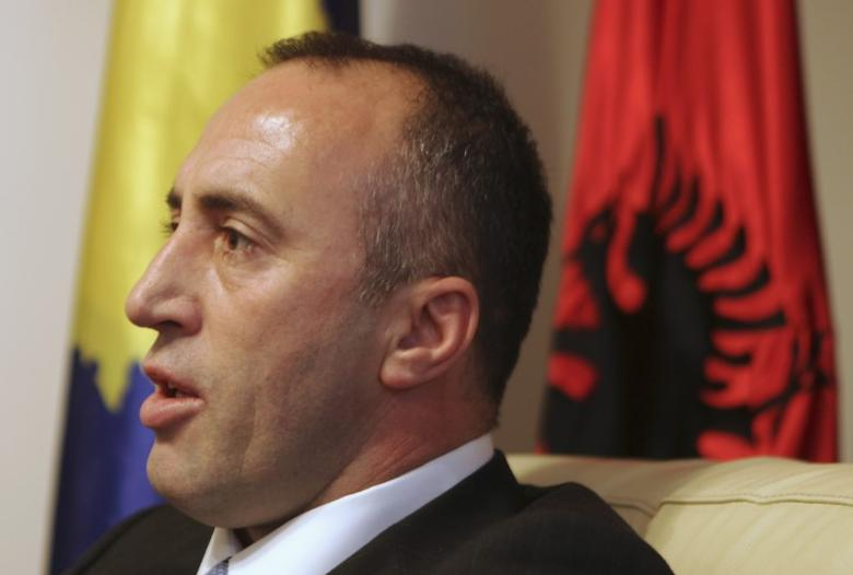President of the Alliance for the Future of Kosovo (AAK) Ramush Haradinaj, a Kosovo Albanian former guerilla commander who served briefly as prime minister, speaks during an interview with Reuters at the AAK headquarters in Pristina December 4, 2012. REUTERS/Hazir Reka