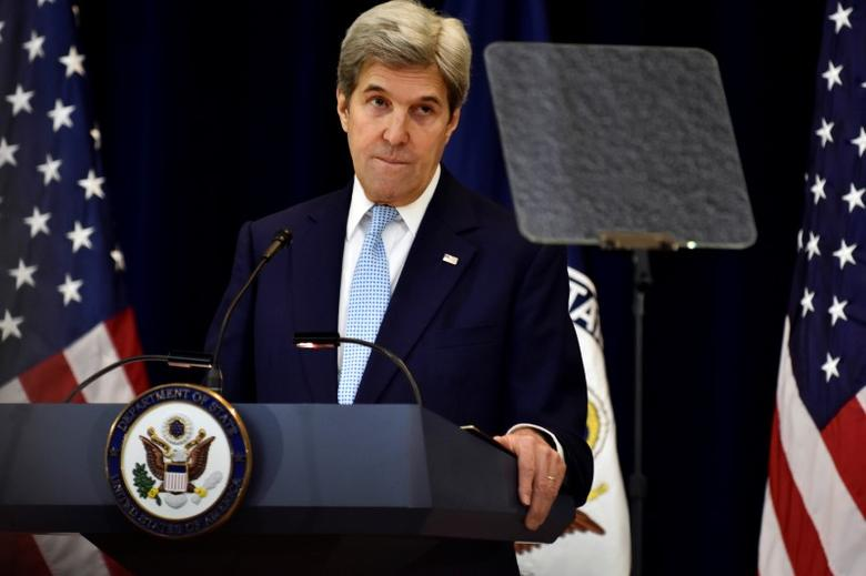 Secretary of State John Kerry delivers remarks on Middle East peace at the Department of State in Washington. REUTERS/James Lawler Duggan