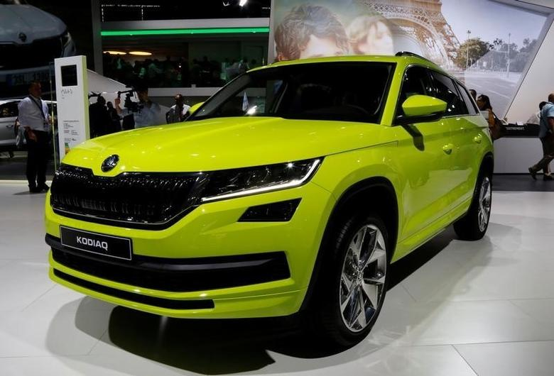 A Skoda Kodiaq SUV is displayed at the Mondial de l'Automobile, Paris auto show, during media day in Paris, France, September 29, 2016. REUTERS/Jacky Naegelen